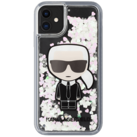 Karl Lagerfeld Glow In The Dark Iridescent Glitter case  for Apple iPhone 11, Black