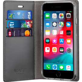 Diarycase 2.0 Genuine Leather flip case with magnetic stand for Apple iPhone 6/6s/7/8, Midnight Black