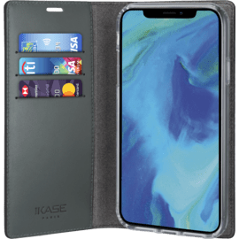 Diarycase Genuine Leather flip case with magnetic stand for Apple iPhone XS Max, Lizard Black