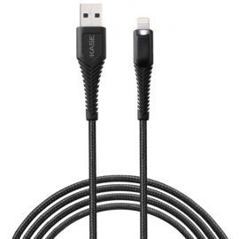 Flashlight Apple MFI certified Nylon Braided Lightning® to USB Charge/Sync cable (1M), Black