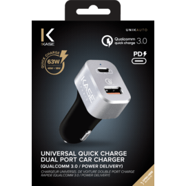 Universal Quick Charge Dual Port Car Charger 63W (Qualcomm 3.0/Power Delivery), Black