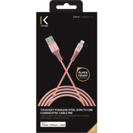Toughest Stainless Steel Apple MFi certified Lightning® to USB Charge/Sync Cable (1M), Rose Gold