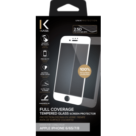 Full Coverage Tempered Glass Screen Protector for Apple iPhone 6/6s/7/8, White