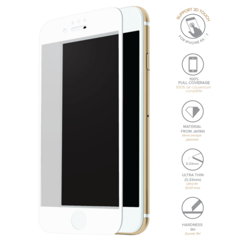 Case Full Coverage Tempered Glass Screen Protector for iPhone 6/6s/7, White