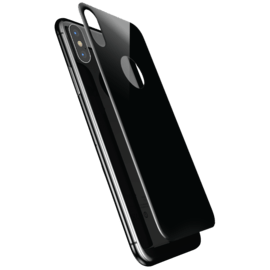 Curved Edge-to-Edge Tempered Back Glass Protector (with Camera Lens Shield) for iPhone X, Black