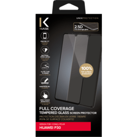 Full Coverage Tempered Glass Screen Protector for Huawei P30, Black