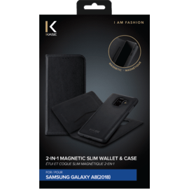 2-in-1 Magnetic Slim Wallet & Case for Samsung Galaxy A8 (2018), Black