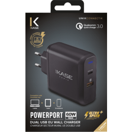 Chargeur secteur mural UE double USB universel PowerPort Ultra Speed+ Charge Rapide 60W (Qualcomm 3.0/Power Delivery), Noir