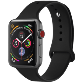 Bracelet en gel de silicone doux pour Apple Watch® Series 1/2/3/4 38/40mm, Noir de jais