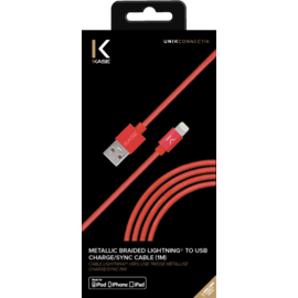 Apple MFi certified Metallic braided Lightning to USB Charge/Sync cable (1M), Red