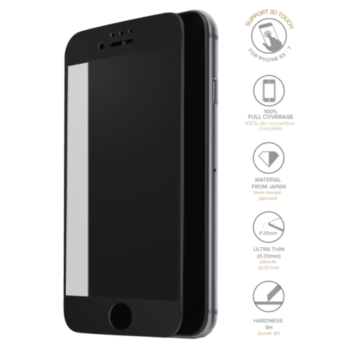 Case Full Coverage Tempered Glass Screen Protector for iPhone 6/6s/7, Black