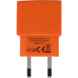 Universal Mono USB Charger (EU) 1A, Vibrant Orange