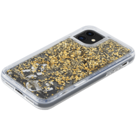 Karl Lagerfeld Bling Bling Glitter Floating Charms case for Apple iPhone 11, Gold