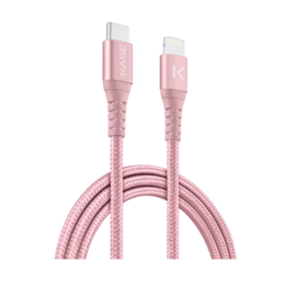 Apple MFi certified Metallic braided USB-C to Lightning Charge/Sync cable (1M), Rose Gold