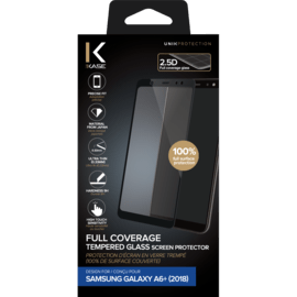 Full Coverage Tempered Glass Screen Protector for Samsung Galaxy A6+ (2018), Black
