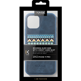 Custodia sottile Bohemia con porta carte di credito per Apple iPhone 11 Pro, blu persiano