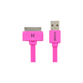 Case Flat Cable 30-pin to USB (1m) for Apple, Hot Pink