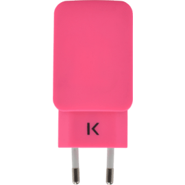 Universal Dual USB Charger (EU) 3.1A, Hot Pink