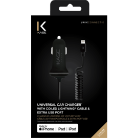 Universal Car charger with 1.2m coiled MFi Lightning cable & extra USB Port