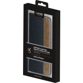 Flip Case for Apple iPhone 7/8, Black Saffiano & Natural Walnut Wood