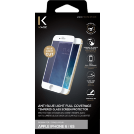 Anti-Blue light Full Coverage Tempered Glass Screen Protector for iPhone 6/6s, White