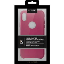 Handcrafted Genuine Leather Case for Apple iPhone X, Fuchsia Pink