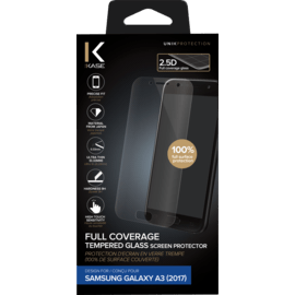 Full Coverage Tempered Glass Screen Protector for Samsung Galaxy A3 (2017), Transparent