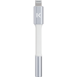 Apple MFi certified Lightning to 3.5mm Metallic Headphone Jack Adapter, Silver