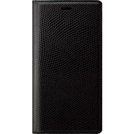 Diarycase Genuine Leather flip case with magnetic stand for Apple iPhone XR, Lizard Black