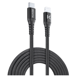 Apple MFi certified Metallic braided USB-C to Lightning Charge/Sync cable (1M), Black