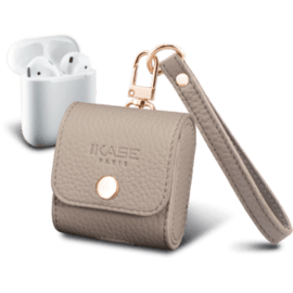 Handcrafted Genuine Leather Apple AirPods Case with Strap, Beige