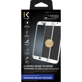 Curved Edge-to-Edge Tempered Glass Screen Protector for Samsung Galaxy S6 Edge, White