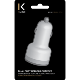 Car charger duo USB port, White