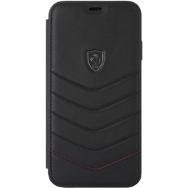 Ferrari Quilted Genuine Leather Flip Case for Apple iPhone XS Max, Black