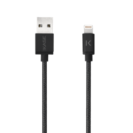 Apple MFi certified Metallic braided Lightning to USB Charge/Sync cable (1M), Black