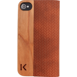 Case Flip case for Apple iPhone 4/4S, Brown & Natural Cherry Wood