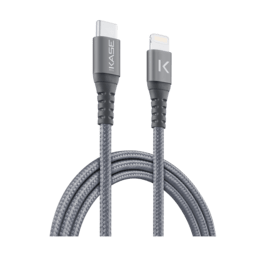 Apple MFi certified Metallic braided USB-C to Lightning Charge/Sync cable (1M), Space Grey