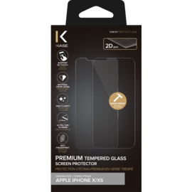 Protection d'écran premium en verre trempé pour Apple iPhone X/XS, Transparent