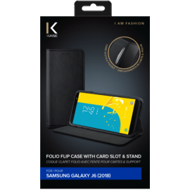 Folio flip case with card slot & stand for Samsung Galaxy J6 (2018), Black