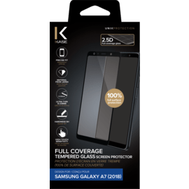 Full Coverage Tempered Glass Screen Protector for Samsung Galaxy A7 2018, Black