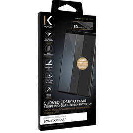Curved Edge-to-Edge Tempered Glass Screen Protector for Sony Xperia 1, Black