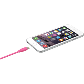 Câble Lightning certifié MFi Apple Charge rapide 2.4A max charge/ sync (2M), Rose Bonbon