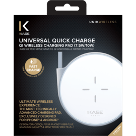 Universal Quick Charge Qi Wireless Charging Pad (7.5W/10W), Metallic Silver