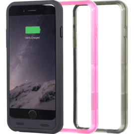MFi-certified Protective Power Case 2400mAh for  Apple iPhone 6/6s, Matte Black (3 bumpers included)