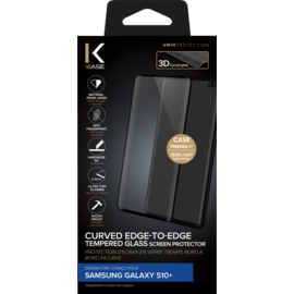 Curved Edge-to-Edge Tempered Glass Screen Protector for Samsung Galaxy S10+, Black