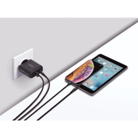 Chargeur secteur mural UE double USB universel PowerPort Speed+ Charge Rapide 36W (Qualcomm 3.0/Power Delivery), Noir