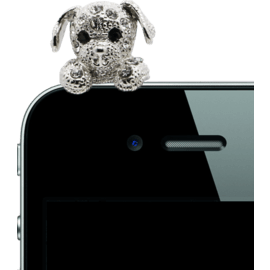 Case Jewel Jack Plug, Rhinestone Puppy Dog, Platinum