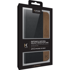 Flip Case for Apple iPhone XS Max, Black Saffiano & Natural Walnut Wood