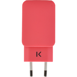Universal Dual USB Charger (EU) 3.1A, Coral