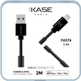 Câble Lightning certifié MFi Apple Charge rapide 2.4A max charge/ sync (2M), Noir de jais